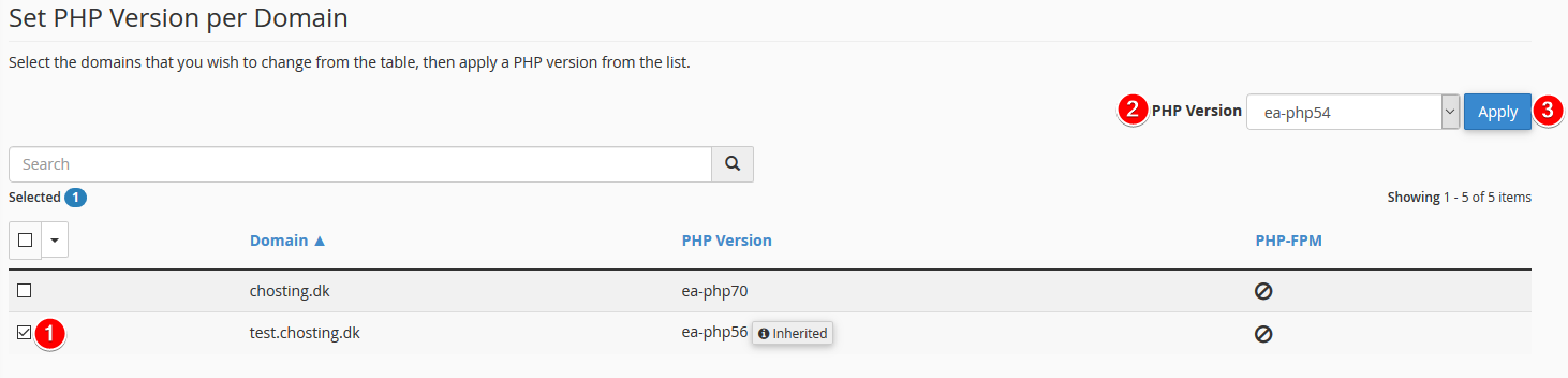 Change the PHP version per website